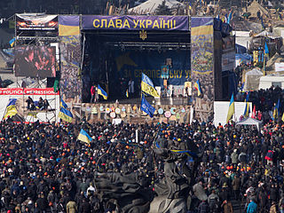 The crowd in Kiev, 21 February 2014