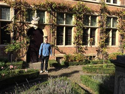 Matthew Hayes enjoying the courtyard of the Plantin-Moretus museum in Antwerp