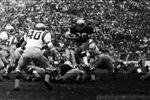 Rocky Bleier, father of Elly Bleier ('20), during a Notre Dame Football Game courtesy of ND Archives