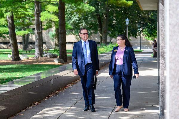 Ambassador O Sullivan Walking With Monica Caro Senior Associate Director Of The Nanovic Institute