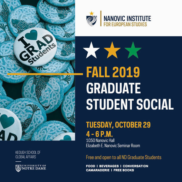 Fall 2019 Graduate Student Social on October 29 from 4 to 6 pm