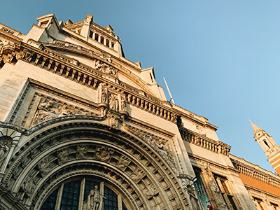 The Top Of The Victoria Albert Museum In London From The Entry Pictured At Sunset