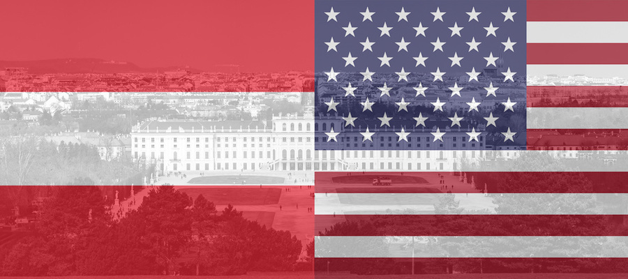 Old Vienna overlaid by the flags of Austria and the USA